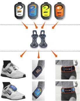 Las pesas ligeras móviles se pueden colocar sobre los empeines, las muñecas y la cintura