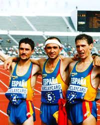 Martín Fiz (izquierda) junto a Diego García y Alberto Juzdado en Helsinki'94